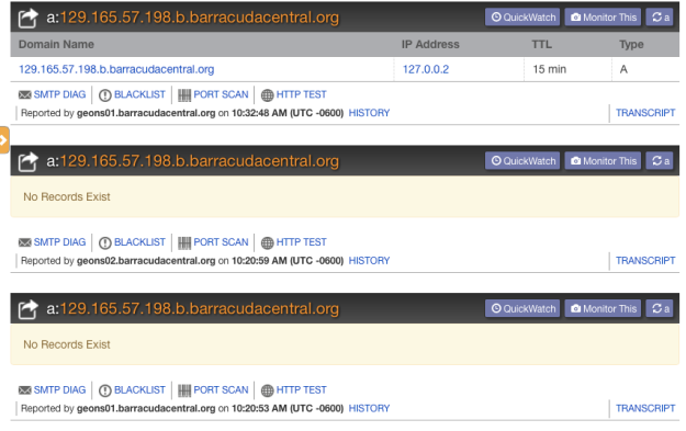 Three direct lookups of a particular IP address on Barracuda's DNS servers.  Note that the same server pool provides different results.