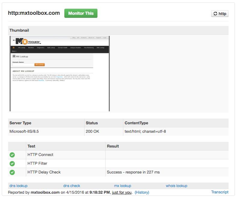 HTTP/S Screenshots: Lookups, Monitoring, History, Alerts | MxToolbox