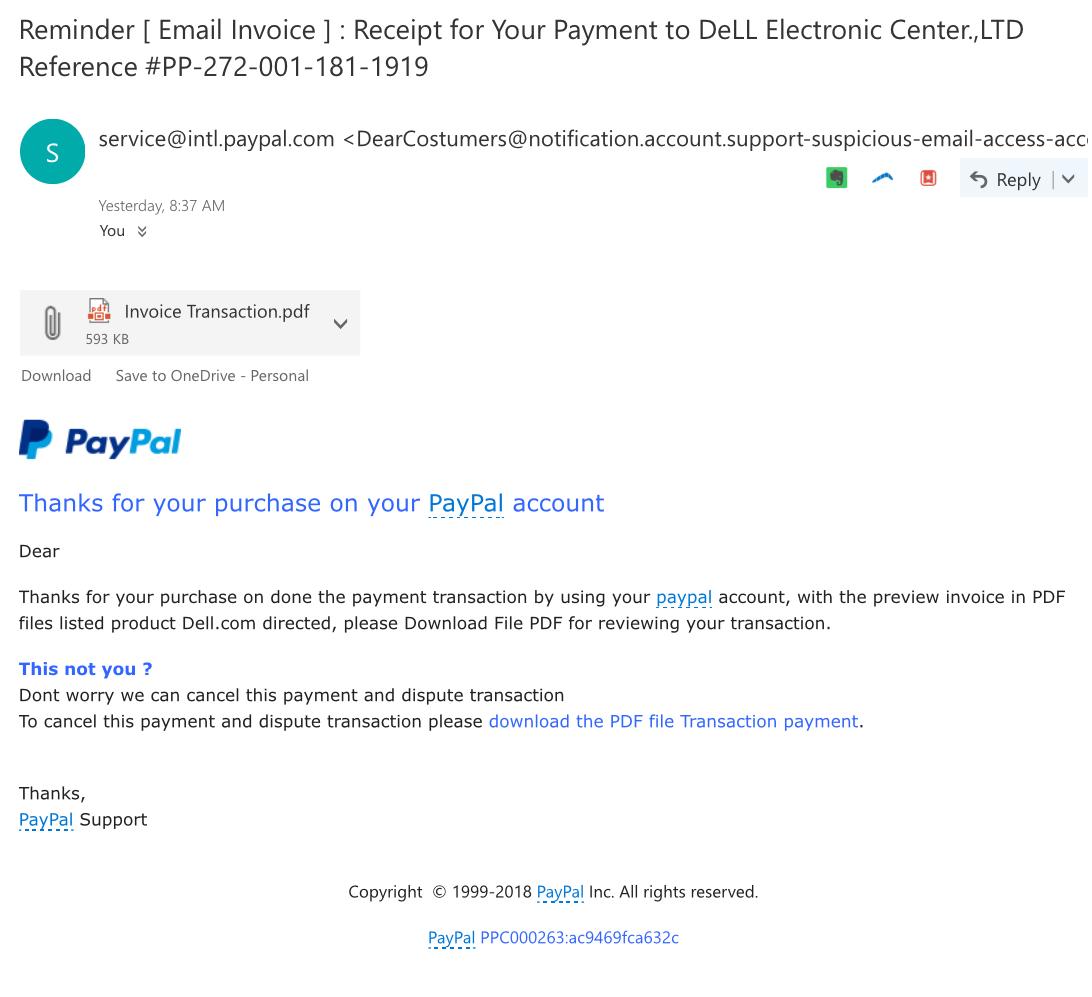 correo electrónico de phishing